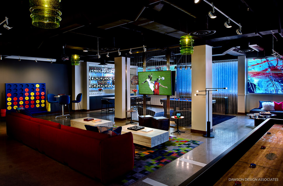 hotel modera game room dawson design associates hospitality